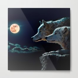 Wolf Wolves Howling at the Full Moon Metal Print