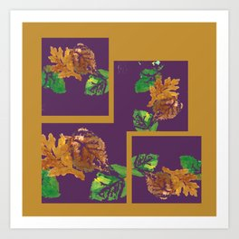 Gold leaf painting and graphic design, brown green purple Art Print