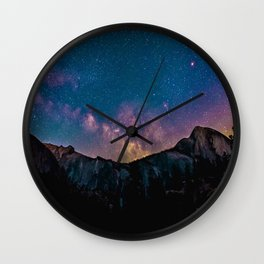 Milky Way Mountains Deep Pastel Wall Clock