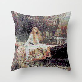 Lady of Shallot Glitch II Throw Pillow