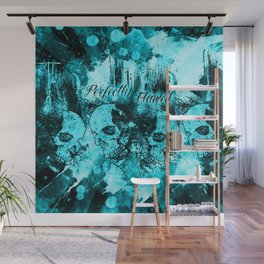 Perfectly Flawed Dreaming Skulls in Blue Wall Mural