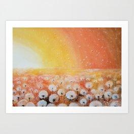 Sunrise and Dandelions, Watercolor Art Print
