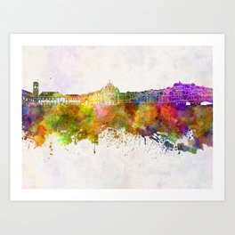 Coimbra skyline in watercolor background Art Print