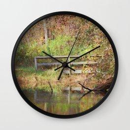 Bridge Over Oak Creek Pond Wall Clock