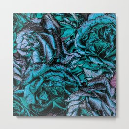 Great Garden Roses with silver dust,turquoise Metal Print