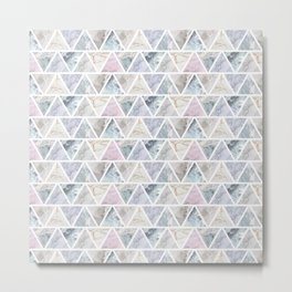 Marble Triangles Metal Print