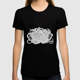 garmony floral tangled composition on the grey T-shirt