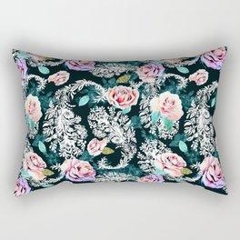 Dark pattern of flowers and paisley Rectangular Pillow