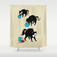 coffee Shower Curtains featuring Coffee Cat by Boots