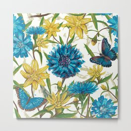 Seamless floral pattern with flowers and butterfly Metal Print