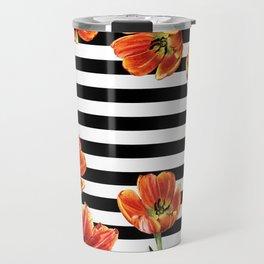 Red Orange Tulips Black Stripes Chic Travel Mug