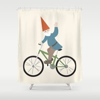 gnome Shower Curtains featuring biker gnome by Britt Whitaker Design