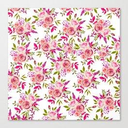 Elegant pink coral green watercolor roses pattern Canvas Print