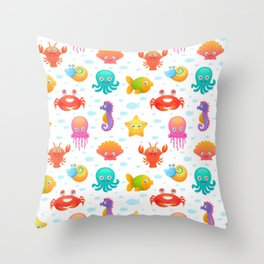 Cute sea animals pattern Throw Pillow