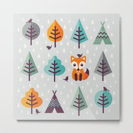 FOX IN THE FOREST Metal Print