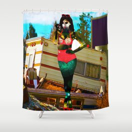 Sexy Christmas Comes Early to the Trailer Park Shower Curtain