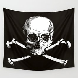 Skull and Crossbones   Jolly Roger   Pirate Flag   Black and White   Wall Tapestry