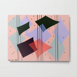 Mid Century Modern rain dance - Pink Purple Green and Black Palette Metal Print