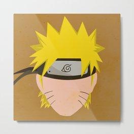 Naruto Uzumaki Simplistic Face Shippuden Metal Print
