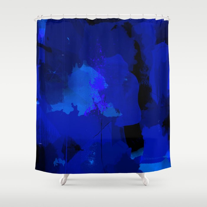 Night Blue Strokes Dark Blue And Black Abstract Painting B01yk Shower Curtain By Peraboom