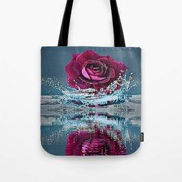 PURPLE ROSE FALLING IN  POND WATER Tote Bag