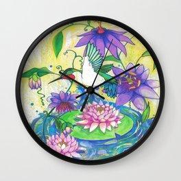 Lotus Hummingbird  Wall Clock