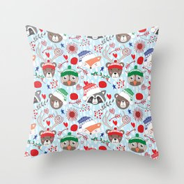 Christmas animal smiles Throw Pillow