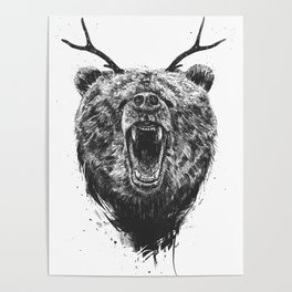 Angry bear with antlers Poster