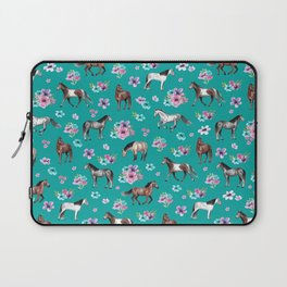 Horse Pattern, Floral Print, Turquoise, Little Girls Room, Horses Laptop Sleeve