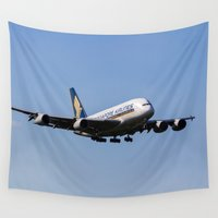 singapore Wall Tapestries featuring Singapore Airlines Airbus A380 by David Pyatt