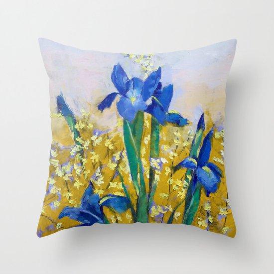 Iris and Forsythia Throw Pillow