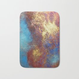 Red, Blue And Gold Modern Abstract Art Painting Bath Mat