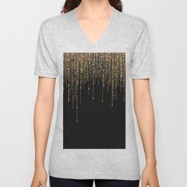 Luxury Chic Black Gold Sparkly Glitter Fringe Unisex V-Neck