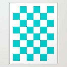 Large Checkered - White and Cyan Art Print
