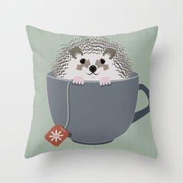 Holiday Tea Cup Hedgehog Throw Pillow