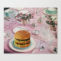 burger Canvas Prints featuring BURGER by Beth Hoeckel