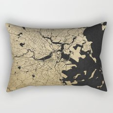 Boston Black and Gold Map Rectangular Pillow