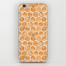 Honey Bee Hexagons iPhone Skin