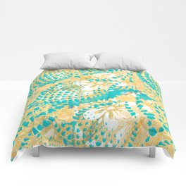 Monoprint 5 - Turquoise feathery pattern with yellow floral Comforters