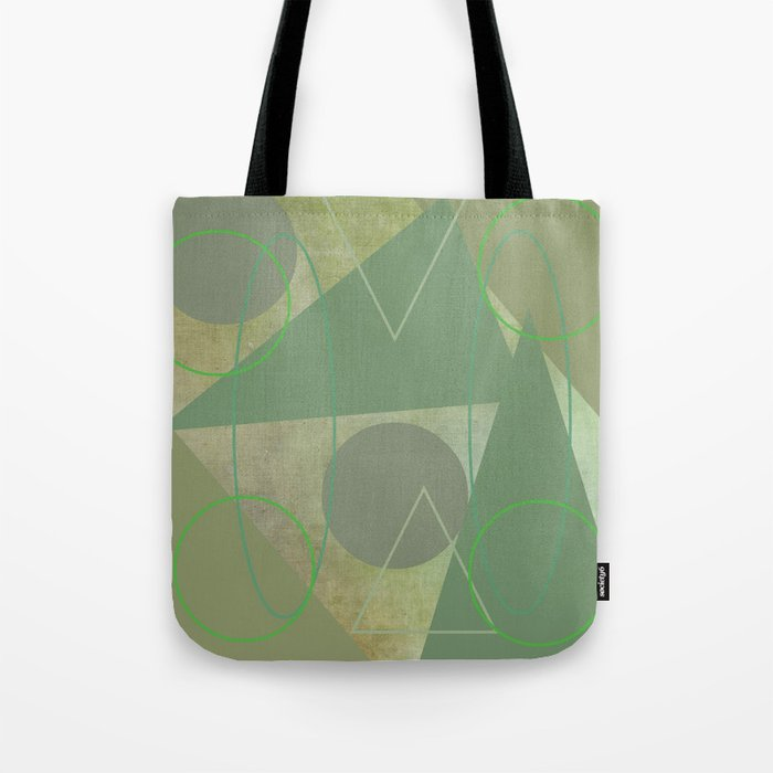 Subdued Green Geometric Abstract Tote Bag