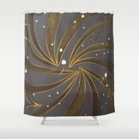 champagne Shower Curtains featuring Gold & Champagne by Kat Dermane