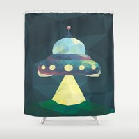 spaceship Shower Curtains featuring Spaceship. by Dani Does Art