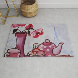 Still life poppies Paris ice cream rose painting by Ksavera Rug