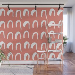 Hand Drawn Abstract Pattern - Coral Red Wall Mural