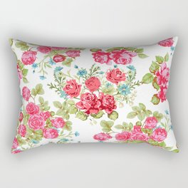 Botanical magenta teal green vintage vector roses floral Rectangular Pillow