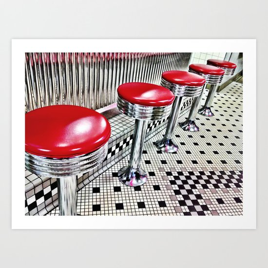 Diner Stools Art Print