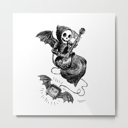 Little Grim Reaper Playing A Guitar Metal Print