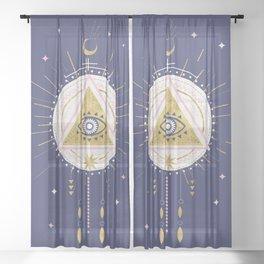 Magical night tarot illustration no5 Sheer Curtain