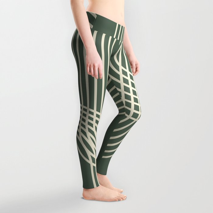 Minimalist Lines in Forest Green Leggings