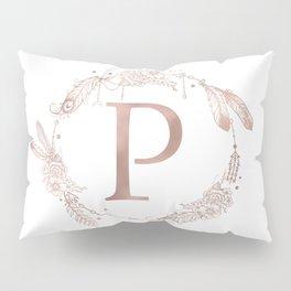 Letter P Rose Gold Pink Initial Monogram Pillow Sham